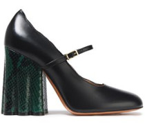 Scalloped Leather Mary Jane Pumps Black