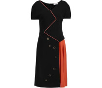 Two-tone cady and pleated crepe dress
