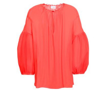 Gathered Silk-georgette Blouse Coral