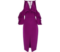 Cold-shoulder Ruffled Silk Crepe De Chine Midi Dress Magenta