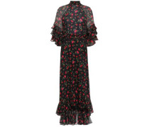 Tiered Embellished Chiffon Midi Dress Black