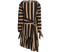 Asymmetric striped cotton and silk-blend mini dress