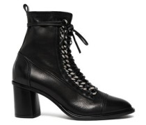 Chain-embellished Leather Sock Ankle Boots Black