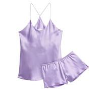 Bella Silk-satin Pajama Set Lavender