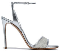 Metallic leather and embroidered mesh sandals
