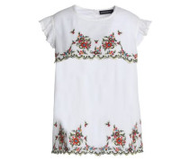 Ruffle-trimmed embroidered cotton-poplin top