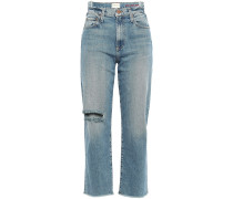 Woman Try Me Distressed High-rise Straight-leg Jeans Mid Denim