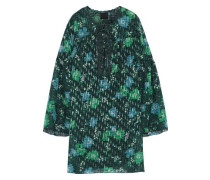Floral-print Fil Coupé Silk-blend Mini Dress Forest Green