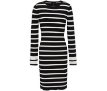 Striped Ribbed-knit Mini Dress Black