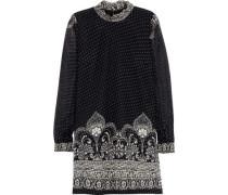 Printed Fil Coupé Silk-blend Chiffon Mini Dress Black