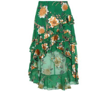 Ruffle-trimmed floral-print crepe de chine skirt