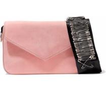 Melissa embellished grosgrain-trimmed suede shoulder bag