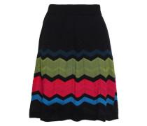 Striped Crochet-knit Skirt Black