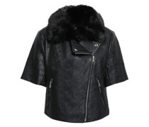 Laser-cut Faux Leather And Fur Jacket Black
