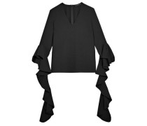 Ace Ruffled Crepe Blouse Black