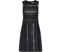 Striped metallic crepe mini dress