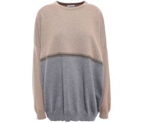 Bead-embellished Two-tone Cashmere Sweater Light Brown