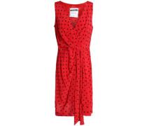 Draped Polk-dot Silk-crepe Mini Dress Red