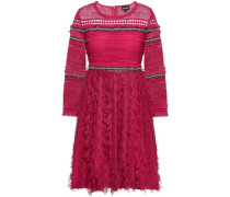 Embellished Crochet And Embroidered Tulle Mini Dress Fuchsia