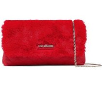 Faux Fur And Quilted Faux Leather Shoulder Bag Red Size --