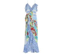 Embellished ruffled printed silk crepe de chine midi dress