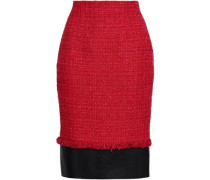Leather-paneled Tweed Pencil Skirt Red