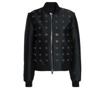 Embellished twill bomber jacket