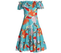 Santo Domingo Off-the-shoulder Printed Linen Dress Turquoise