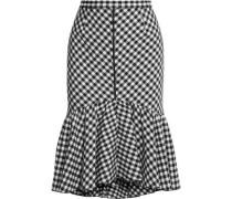 Ruffled gingham jacquard skirt