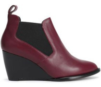 Leather Wedge Ankle Boots Merlot