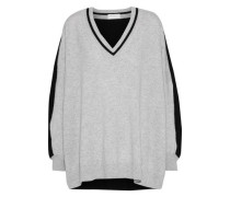 Oversized Two-tone Cashmere Sweater Gray  /L