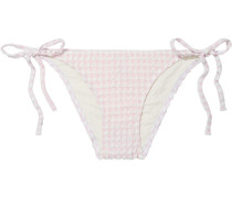 Woman The Charlotte Gingham Stretch-seersucker Low-rise Bikini Briefs Baby Pink