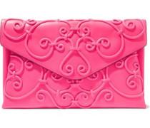 Appliquéd Leather Envelope Clutch Bright Pink Size --