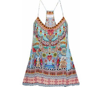 Shades Of Rio Crystal-embellished Printed Silk Crepe De Chine Camisole Turquoise