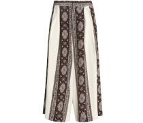 Paneled printed silk culottes