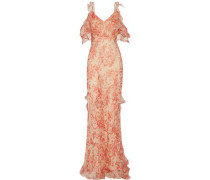 Ladonna cold-shoulder ruffled printed silk-georgette gown