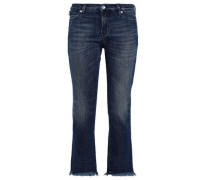 Woman Cropped Embellished Mid-rise Bootcut Jeans Mid Denim