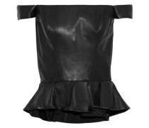 Off-the-shoulder Leather Peplum Top Black