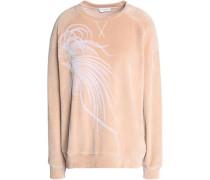 Flocked cotton-blend chenille sweatshirt