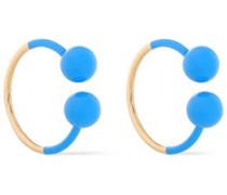 Gold-tone Enamel Earrings Blue Size --