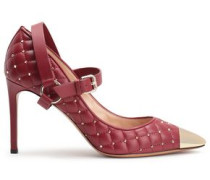 Studded Quilted Leather Mary Jane Pumps Merlot