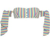 The Mackenzie Off-the-shoulder Striped Seersucker Bikini Top Multicolor