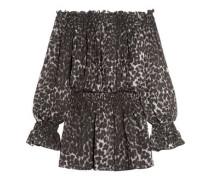 Off-the-shoulder leopard-print chiffon mini dress