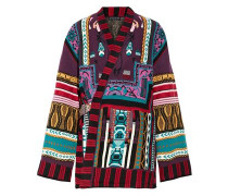Reversible intarsia wool-blend and jacquard wrap jacket