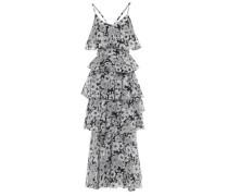 Tiered Floral-print Cotton Maxi Dress Black