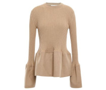 Felt-paneled Ribbed Cashmere Top Sand