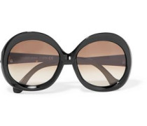 Woman Round-frame Acetate And Gold-tone Sunglasses Black