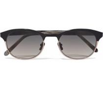 D-frame acetate and rose gold-tone sunglasses