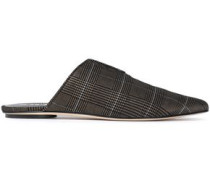 Cacey Metallic Prince Of Wales Checked Woven Slippers Bronze