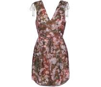 Floral-print crepe de chine mini dress